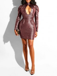 Red Sequin Cut Out Deep V-neck Puff Long Sleeve Bodycon Glitter Sparkly Birthday Party Hot Mini Dress