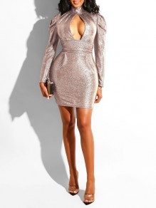 Rose Golden Sequin Cut Out Deep V-neck Puff Long Sleeve Bodycon Glitter Sparkly Birthday Party Hot Mini Dress
