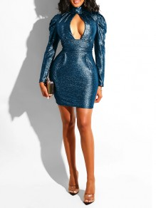 Blue Sequin Cut Out Deep V-neck Puff Long Sleeve Bodycon Glitter Sparkly Birthday Party Hot Mini Dress