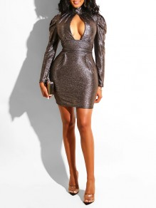 Black Sequin Cut Out Deep V-neck Puff Long Sleeve Bodycon Glitter Sparkly Birthday Party Hot Mini Dress