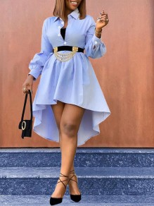 Blue Buttons Turndown Collar Puff Long Sleeve V-neck Pleated High-low Work Mini Dress