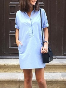 Light Blue Buttons Pockets V-neck Short Sleeve Jeans Mini Dress