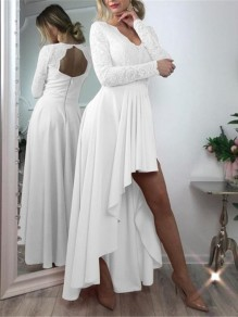 White Patchwork Zipper Lace Cut Out Grenadine Backless V-neck Long Sleeve Pleated High-low Bridesmaid Mini Dress