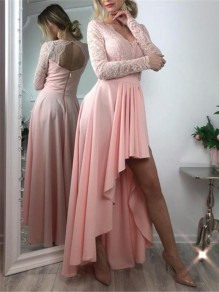 Pink Patchwork Zipper Lace Cut Out Grenadine Backless V-neck Long Sleeve Pleated High-low Bridesmaid Mini Dress