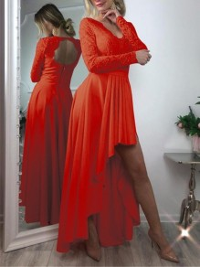 Red Patchwork Zipper Lace Cut Out Grenadine Backless V-neck Long Sleeve Pleated High-low Bridesmaid Mini Dress