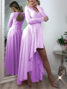 Purple Patchwork Zipper Lace Cut Out Grenadine Backless V-neck Long Sleeve Pleated High-low Bridesmaid Mini Dress