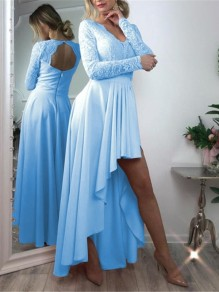 Light Blue Patchwork Zipper Lace Cut Out Grenadine Backless V-neck Long Sleeve Pleated High-low Bridesmaid Mini Dress