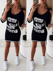 Black Floral Cut Out 3/4 Sleeve Bodycon Going out Mini Dress