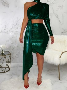 Green Irregular Off One Shoulder Two Piece High Waisted Bodycon Clubwear Bronzing Glitter Sparkly Birthday Party Mini Dress