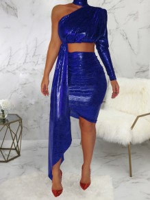 Blue Irregular Off One Shoulder Two Piece High Waisted Bodycon Clubwear Bronzing Glitter Sparkly Birthday Party Mini Dress