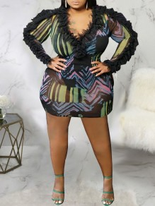 Black Colorful Print Grenadine Patchwork Ruffle V-neck Long Sleeve Sheer Bodycon Plus Size Mini Dress