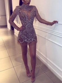 Silver Patchwork Grenadine Sequin Bodycon Sheer Sparkly Glitter Birthday Prom Evening Party Maxi Dress