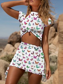 White Coloful Butterfly Print Grenadine Short Sleeve Two Piece High Waisted Drawstring Short Mini Dress