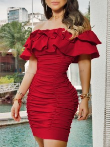 Red Off Shoulder Cascading Ruffle Bodycon Party Mini Dress