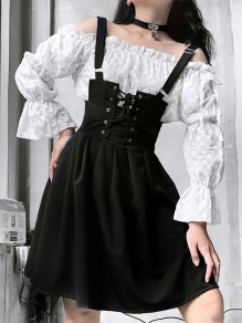 Black Pleated Strap High Waisted Fashion Gothic Overall Mini Dresses