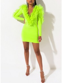 Neon Green Patchwork Layers Of Grenadine V-neck Long Sleeve Bodycon Clubwear Mini Dress