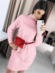 Pink High Neck Long Sleeve Fashion Sweater Mini Dress