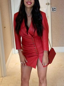 Red Buttons Tailored Collar V-neck Ruched Long Sleeve Bodycon PU Leather Work Mini Dress