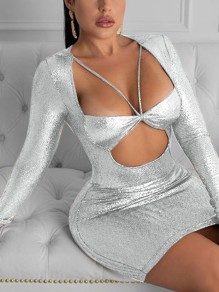 Golden Sequin Print Cut Out V-neck Long Sleeve Bodycon Clubwear Glitter Sparkly Birthday Party Mini Dress
