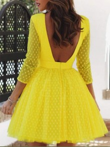 Yellow Backless Round Neck Long Sleeve Elegant Mini Dress