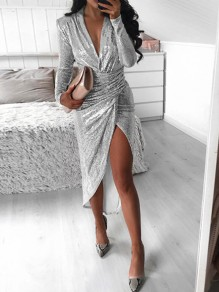 Silver Sequin V-neck Long Sleeve Ruched High-low Glitter Sparkly Birthday Party Mini Dress