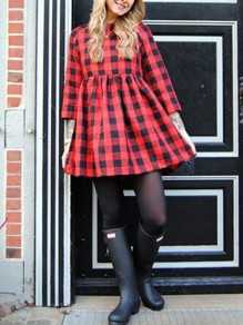 Red-Black Plaid Round Neck Elbow Sleeve Cute Mini Dress