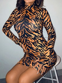 Brown Tiger Print High Neck Long Sleeve Bodycon Mini Dress With Gloves