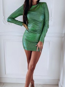 Green Sparkly Bodycon Long Sleeve Elegant Cocktail NYE Party Mini Dress