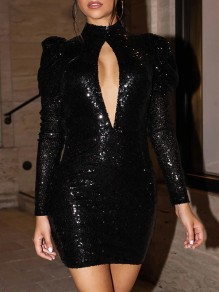 Black Sequin Cut Out Band Collar Puff Long Sleeve Backless Bodycon Glitter Sparkly Birthday Party NYE Mini Dress