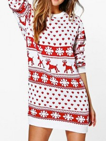 Red Christmas Print Round Neck Long Sleeve Party Knit Mini Dress