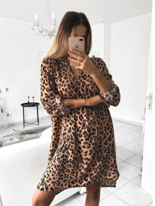 Yellow Leopard Print V-neck Long Sleeve Elegant Mini Dress