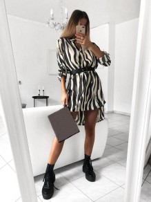 White Striped Print V-neck Long Sleeve Elegant Mini Dress
