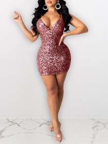 Burgundy Sequin Shoulder-Strap V-neck Hip Bodycon Glitter Sparkly Birthday Party Mini Dress