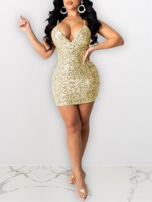 Golden Sequin Shoulder-Strap V-neck Hip Bodycon Glitter Sparkly Birthday Party Mini Dress