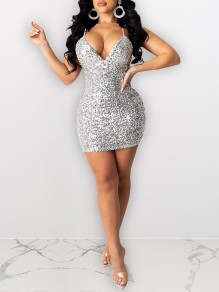 Silver Sequin Shoulder-Strap V-neck Hip Bodycon Glitter Sparkly Birthday Party Mini Dress