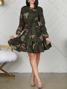 Green Camouflage Print Belt Pleated Round Neck Long Sleeve Ruched Tutu Mini Dress