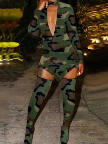 Army Green Camouflage Pattern Irregular Cut Out Halter Neck Bodycon Mini Dress With Sock