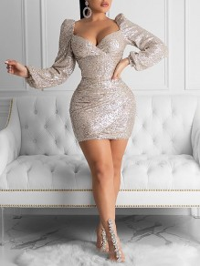 Champagne Sequin V-neck Puff Long Sleeve Glitter Sparkly Birthday Party NYE Mini Dress