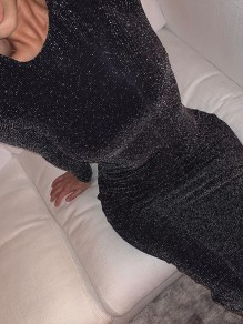 Black Sparkly Bodycon Long Sleeve Elegant Cocktail Party Mini Dress