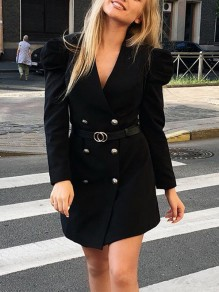 Black Plain Buttons V-neck Long Sleeve Fashion Mini Dress