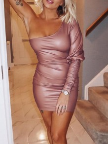 Pink Asymmetric Shoulder One Sleeve Hip Bodycon PU Leather Mini Dress