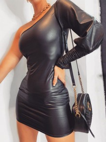 Black Asymmetric Shoulder One Sleeve Hip Bodycon PU Leather Mini Dress