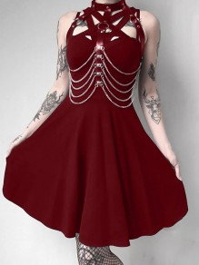 Burgundy Cut Out PU Leather Band Collar Sleeveless Skate Tutu Rosatic Witch Gothic Mini Dress