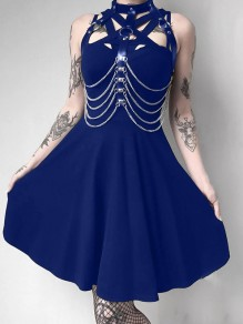 Dark Blue Cut Out PU Leather Band Collar Sleeveless Skate Tutu Rosatic Witch Gothic Mini Dress