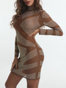 Silver Patchwork Sequin Grenadine High Neck Long Sleeve Sheer Bodycon Glitter Sparkly Birthday Party Mini Dress