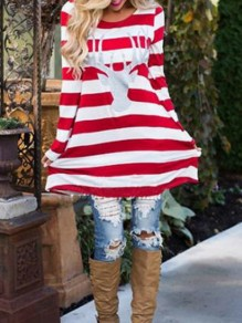 Red Striped Rentier Christmas Round Neck Long Sleeve Cute Mini Dress