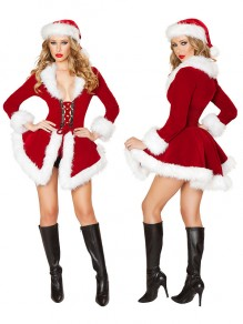 Red Patchwork Strappy Christmas Santa Claus Long Sleeve Fashion Mini Dress