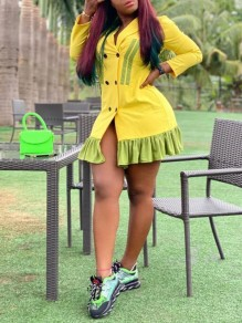 Yellow Patchwork Ruffle Tailored Collar Long Sleeve Double Breasted Mini Dress