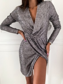 Grey Patchwork Sequin V-neck Long Sleeve Fashion Mini Dress