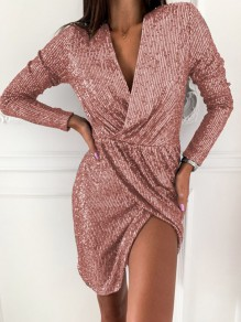 Pink Patchwork Sequin V-neck Long Sleeve Fashion Mini Dress
